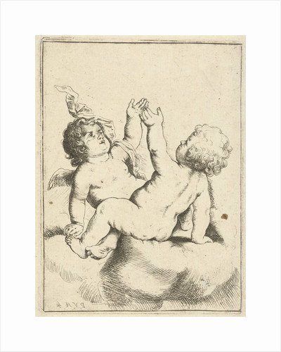 An angel and a child on a cloud by Pieter van Avont