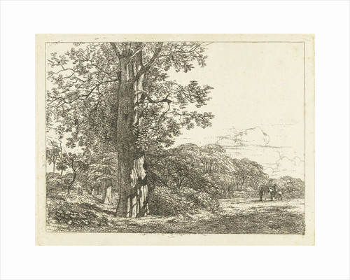 Landscape with big pine tree, and rider in conversation with husband by Albertus Brondgeest