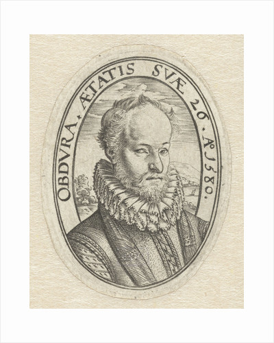 Portrait Bust of a young man with a beard, in oval with Latin inscription, Belongs to a family crest by Hendrick Goltzius