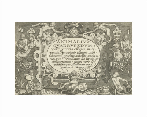 Title print with title cartouche surrounded by monkeys to work as a goldsmith by Assuerus van Londerseel