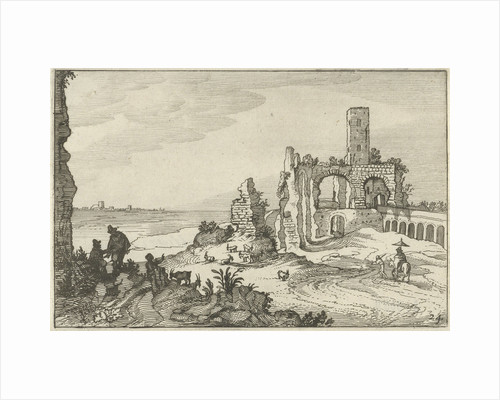 Ruin with arches and a tower on the waterfront by Claes Jansz. Visscher II