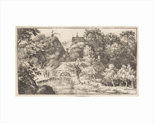 Landscape with views of three people at a watermill by Allaert van Everdingen