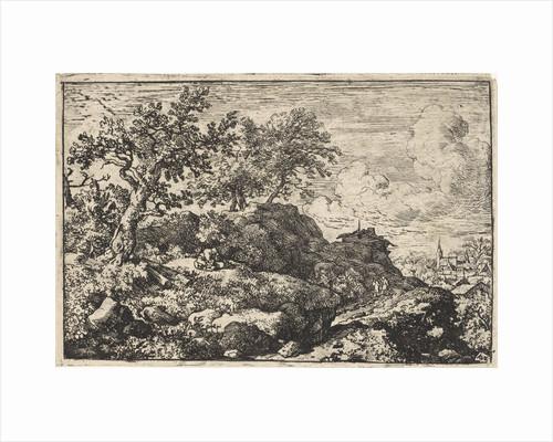 Mountain landscape with person sitting on mountain by Allaert van Everdingen