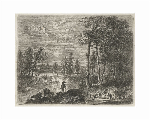 Landscape at night with farmers and livestock by Paulus Potter
