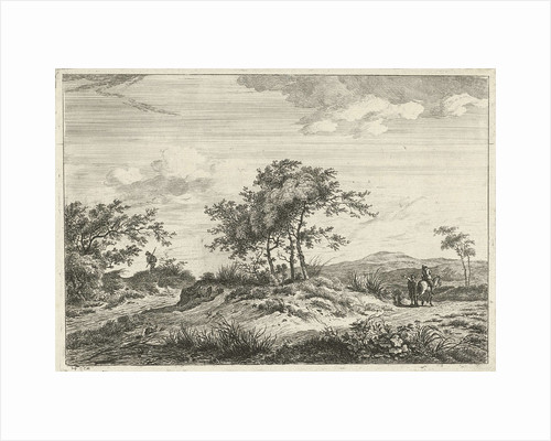 Landscape with horseman and pedestrian by Hermanus Fock
