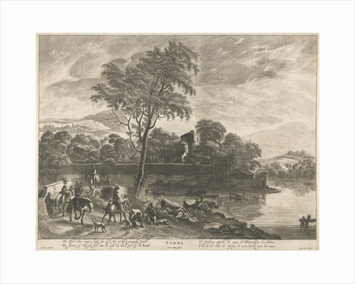 Hunters on horseback riding on a road by Pieter Nolpe