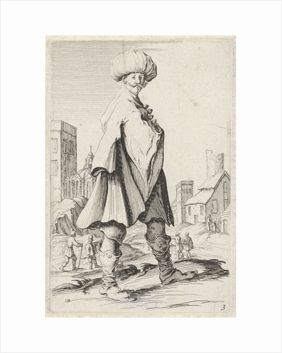 Man with turban near a city by Clement de Jonghe