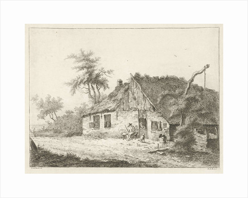 A farm with a thatched roof, a peasant woman is leaning on the lower door, next door a farmer sitting on a bench and a dog by baron Reinierus Albertus Ludovicus van Isendoorn à Blois