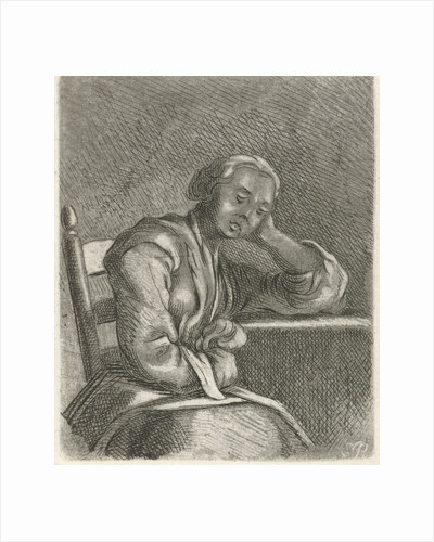 Girl asleep at the table by Caspar Jacobsz. Philips