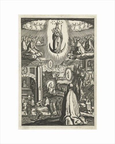 Emblem with Mary and Child worshiped by souls in heaven and a man by Hendrik Aertssens