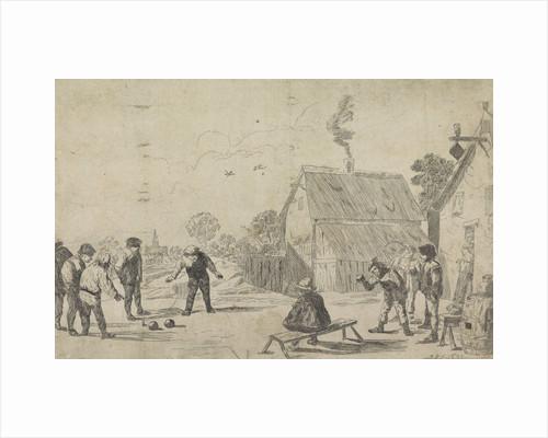 Near an inn farmers play boules, man watches from a bench by Monogrammist MK