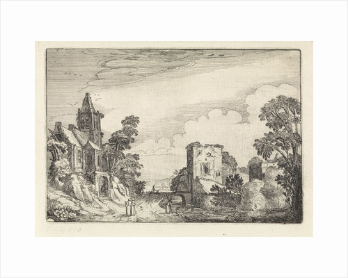 Tower and a church in a landscape by Jan van de Velde II