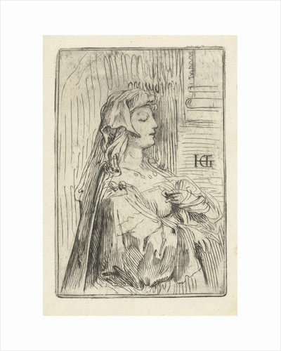 Portrait of a woman with a veil by Hendrick Goltzius
