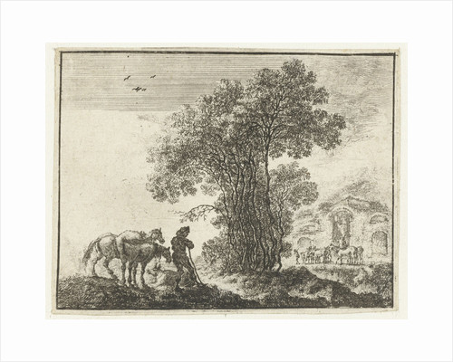 A man stands with two horses near a grove of trees by Gilles Neyts