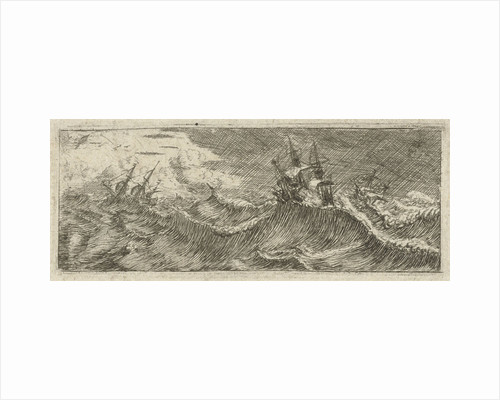 Small seascape with ships in a storm by Reinier Nooms