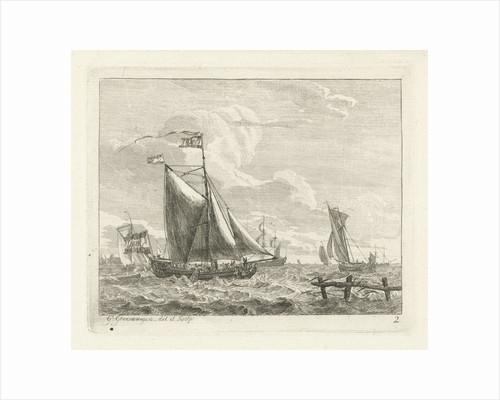 Eight sailing in rough seas by Gerrit Groenewegen