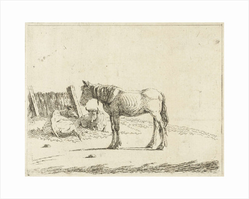 Landscape with a horse and two cows at fence by Cornelis Bisschop
