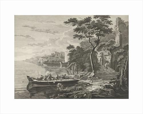 Figures on a barge in a mountain landscape by Anthonij van der Haer
