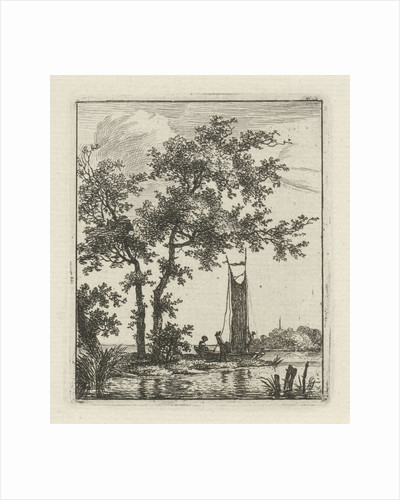 A river landscape with a boat on the waterfront, near two trees, in the boat two persons, one hoisting the sail by Hermanus Fock