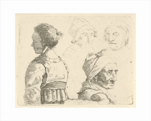 Study Sheet with a female bust and three female heads by Gerrit Lamberts