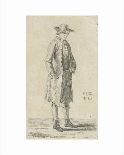 Standing man put his hand in his pocket, series of twelve prints with studies of human figures by Anthonie Willem Hendrik Nolthenius de Man