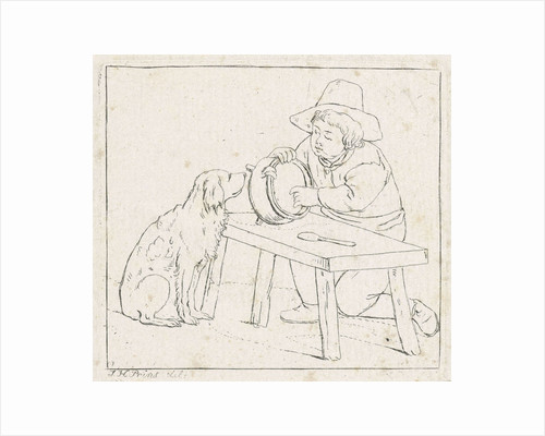 Boy with dog and an empty pot by Anthonie Willem Hendrik Nolthenius de Man