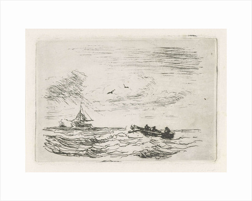 Seascape with sailing and rowing by Louis Meijer