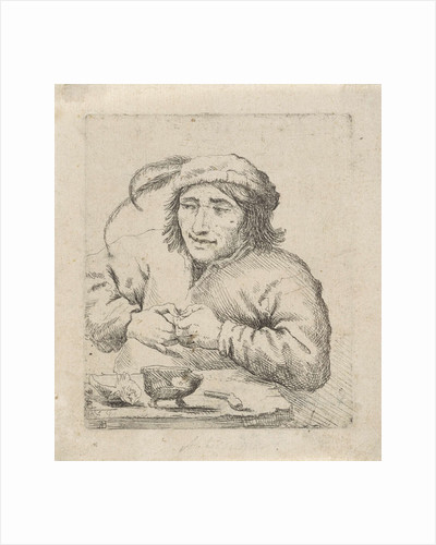 A man wearing a hat with feathers sits at a table, in front of him tobacco and a pipe by Anonymous