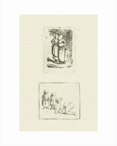 A man and two boys playing marbles by Marie Lambertine Coclers