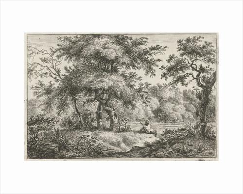 Resting man in woods by Hermanus Fock