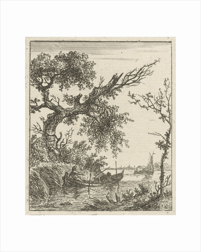 A view on a large overhanging tree and a rowing boat where two men sit by Hermanus Fock