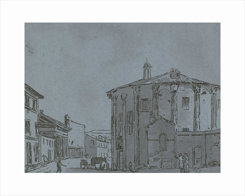 A cityscape with a temple, walking on the street three people, a fourth person is at work next to a horse by Hermanus Fock
