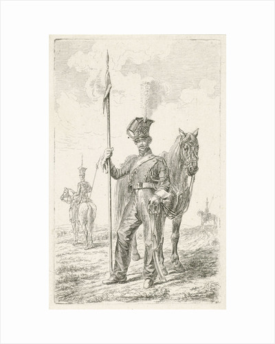 Soldier with a spear beside his horse by Johannes Mock