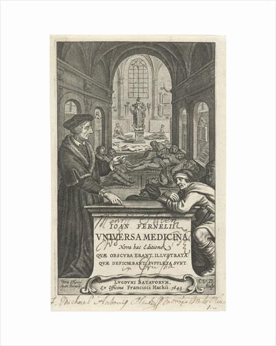 Healer John Fernelius speaks to patient in hospital ward where patients lie on the floor by Franciscus Hackius