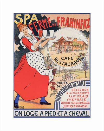Belgium poster for Ferme de la Frahinfaz. cafe restaurant near Spa Belgium 1896 by Adolphe Crespin