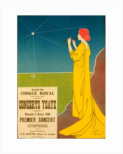 Belgium poster for Concerts Ysaye Brussel, Ysaye concerts, Salle du Cirque Royal, Brussel, 1895 by Georges Meunier