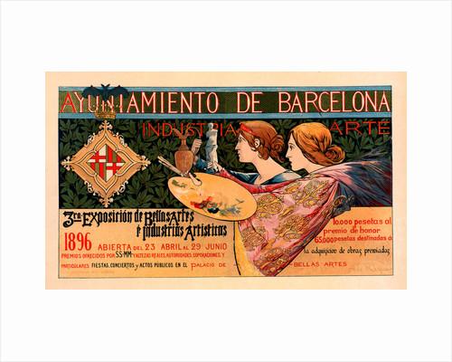 Spanish poster for la Triosième Exposition de Barcelone by Alexandre de Riquer