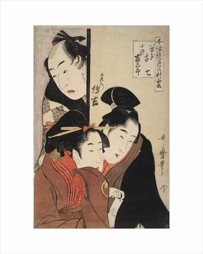 Oshichi the greengrocer's daughter, Kichisaburô the boy-servant and Dozaemon Denkichi. Chiwa kagami tsuki no murakumo by Utamaro Kitagawa