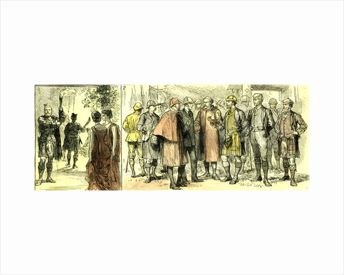 The Court in the Highlands Scotland 1880 from the Door of the Ball Room Abergeldie a Discussion after the Drive by Anonymous