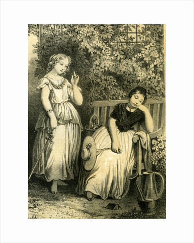 Garden Girls 19th Century Bench Flowers Hat Closed Eyes Book by Anonymous