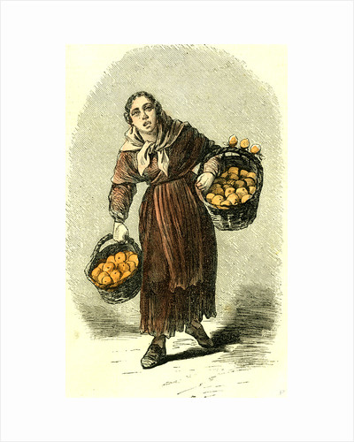 Madrid Spain Orange Girl 1866 Street Character by Anonymous