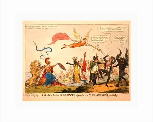 A sketch for the regents speech on Mad-ass-son's insanity by George Cruikshank