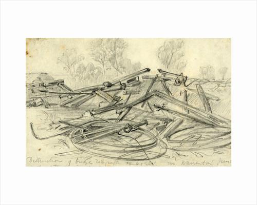 Destruction of bridge telegraph tanks Etc. in Warrenton Junction by Anonymous