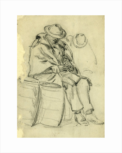 Figure wrapped in blanket sitting on a barrel and reading by Anonymous