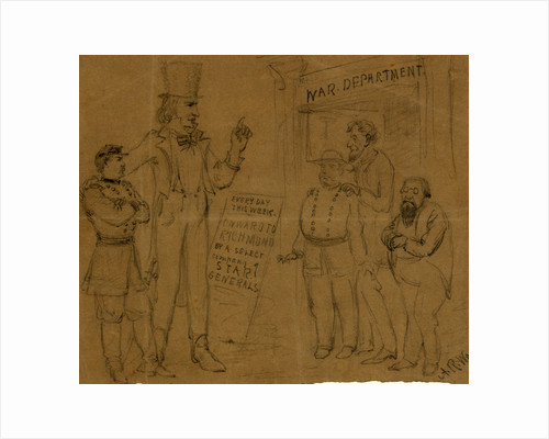 Cartoon showing Uncle Sam and General McClellan standing before a playbill by Alfred R Waud