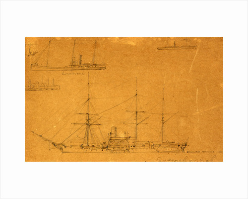 Five broadside views of steamships and a sailboat by Alfred R Waud