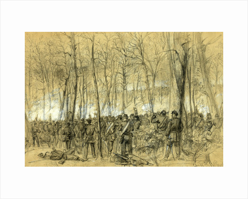 Genl. Wadsworths division in action in the Wilderness, near the spot where the General was killed, 1864 May 5-7 by Alfred R Waud