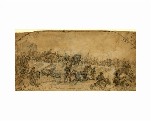 Charge of the 6th Michigan cavalry over the rebel earthworks nr. Falling Waters, 1863 July 14 by Alfred R Waud