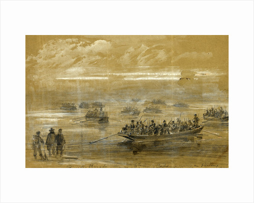 Russells Brigade, 1st div. 6th Army Corps, crossing in Pontoons to storm the enemies rifle pits on the Rappahannock by Alfred R Waud