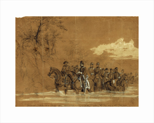 General Sickles and Staff in a reconnoitering expedition along the banks of the Potomac by Alfred R Waud